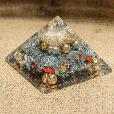 Orgonite Protection Pyramid with Silver Dusts and Beads