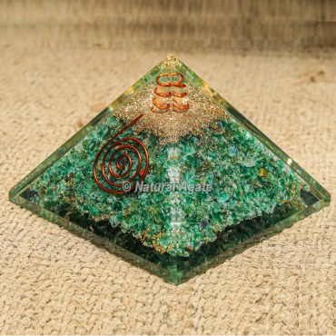 Green Jade with Crystal Point Orgonite Protection Pyramid