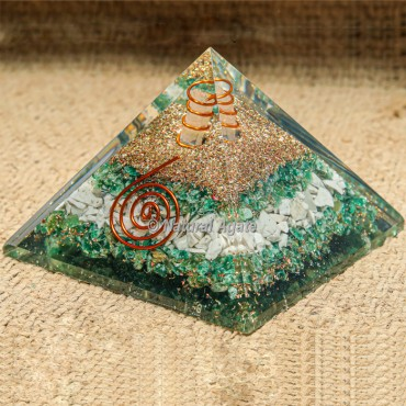 Green Jade & Howlite with Crystal Point Orgonite Protection Pyramid