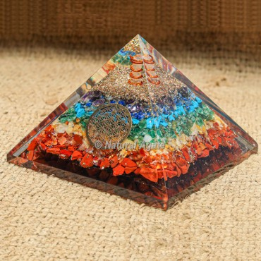 Seven Chakra with Crystal Point Orgonite Protection Pyramid