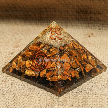 Tiger Eye with Crystal Point Orgonite Protection Pyramid