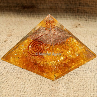 Yellow Aventurine with Crystal Point Orgonite Protection Pyramid