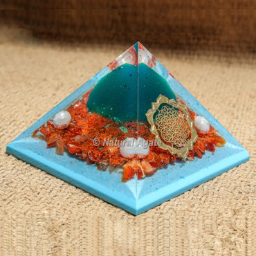 Carnelian with Blue Flame Orgonite Protection Pyramid