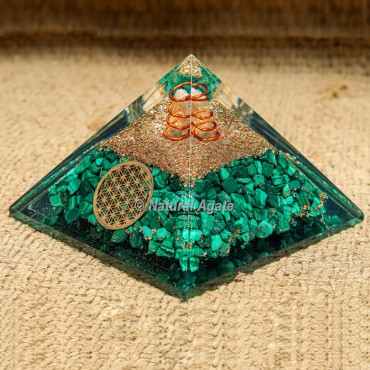 Malachite with Crystal Point Orgonite Protection Pyramid