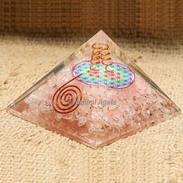 Rose Quartz with Crystal Point Orgonite Protection Pyramid