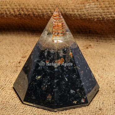 Black Tourmaline Conical Orgonite Protection Pyramid