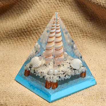 Blue Flame with Rainbow Moonstone Orgonite Protection Pyramid