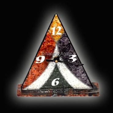Mix Gemstone Orgone Pyramic Clock