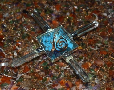 Turquoise Pyramid With Crystal Quartz Point Orgone Energy Generator