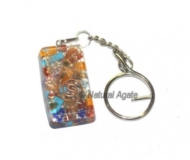 Seven Chakra Rectangle Orgone Keyring