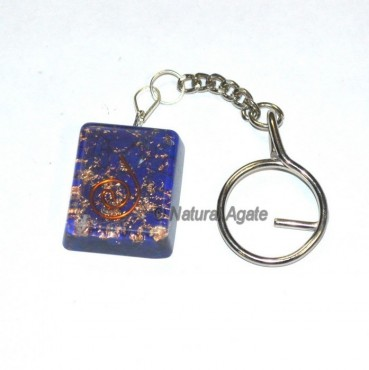 Lapis Lazuli Square Orgone Keyring