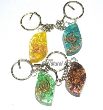 Assorted Stone Eye Shape Orgone Keyring