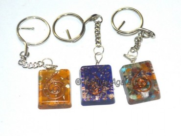 Assorted Stone Square Orgone Keyring