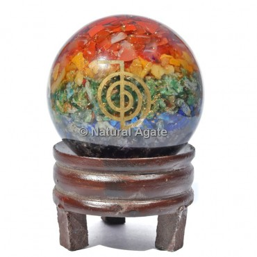 Seven Chakra Orgone Sphere With Choco Reiki with Stand