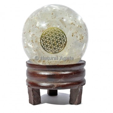 Crystal Quartz Orgone Sphere with Flower Of Life with Stand