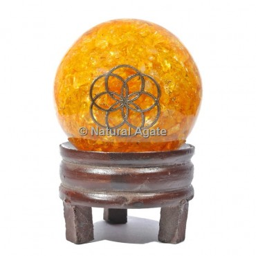 Golden Quartz Orgone Sphere with Stand