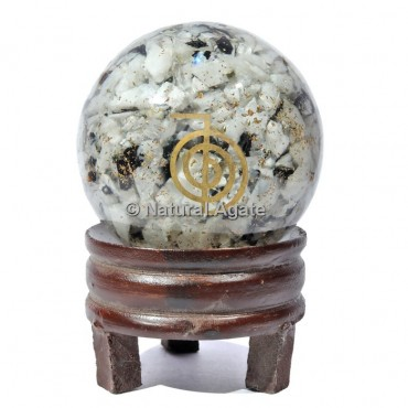 Rainvow Moonstone Orgone Sphere With Choco Reiki with Stand