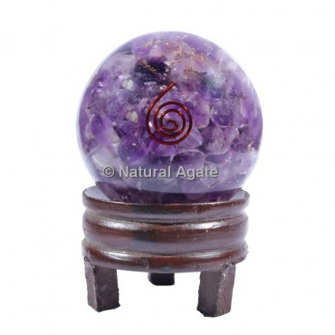 Amethyst Orgone Sphere With Choco reiki with Stand