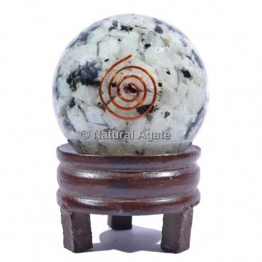 Rainbow Moonstone Orgone Sphere With Spiral Reiki with Stand