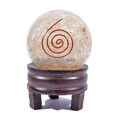 Rose Quartz Orgone Sphere with Spiral Reiki with Stand