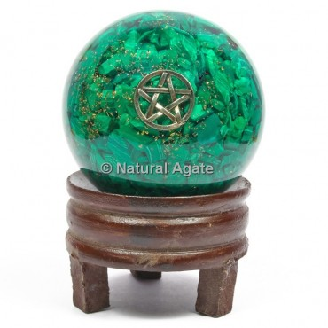 Malachite Orgone Sphere With Pentagram with Stand