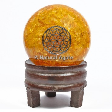 Golden Quartz Orgone Sphere With Flower Of Life with Stand