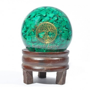 Malachite Orgone Sphere With Tree Of Life with Stand