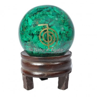 Malachite Orgone Sphere With Choco Reiki with Stand