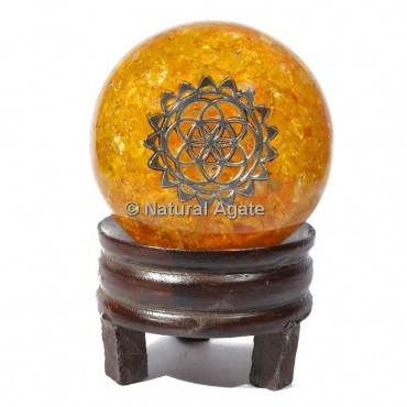 Golden Quartz Orgone Sphere With Engraved Symbol with Stand