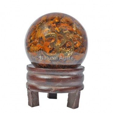 Tiger Eye Orgone Sphere With OM with Stand