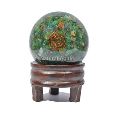Green Aventurine Orgone Sphere With Spiral Reiki with Stand