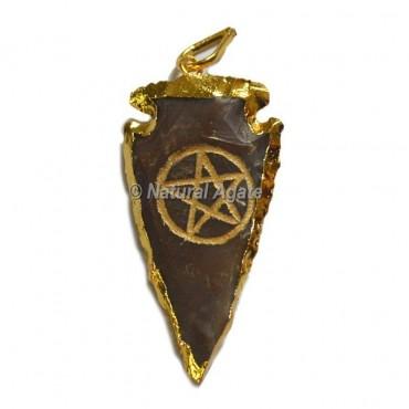 Pentagram Engraved Arrowhead Pendants