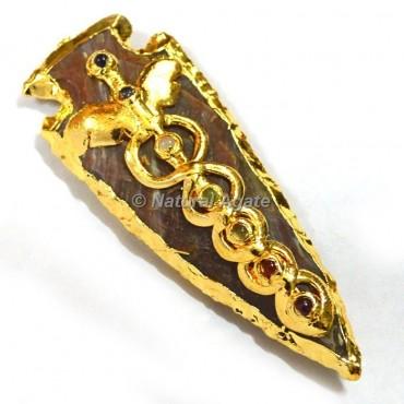 Seven Chakra Electroplated Arrowhead Pendants