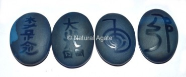 Embossed Stone Blue Onyx Usui Reiki Set