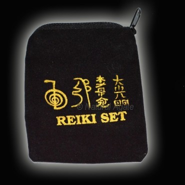 Black Color Reiki Printed Pouch with Chain