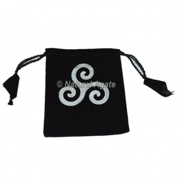 Triple Spiral Printed Black Pouch