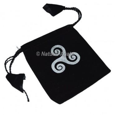 Triple Spiral Printed Black Velvet Pouch