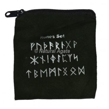 Dark Green Rune Set Printed Velvet Pouch