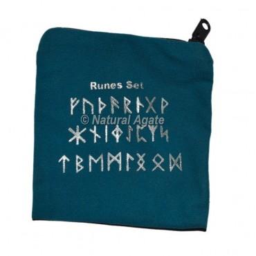 Blue Rune Set Printed Velvet Pouch
