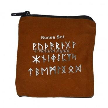 Brown  Rune Set Printed Velvet Pouch