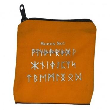 Orange  Rune Set Printed Velvet Pouch