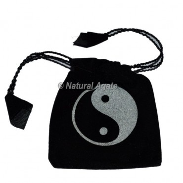Black Pouch with Ying Yang Symbol Printed
