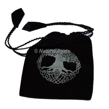 Black Pouch With Tree Of Life Symbol Printed