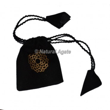 Black Pouch with Gold Printed Crown Chakra