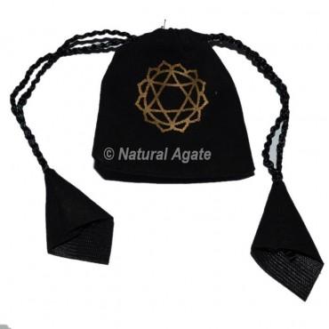 Black Pouch Chakra Symbol Printed