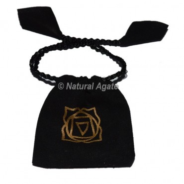Root Chakra Symbol Black Pouch