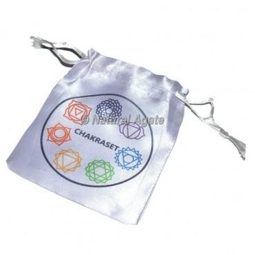 Chakra Symbol Color Printed  White pouch