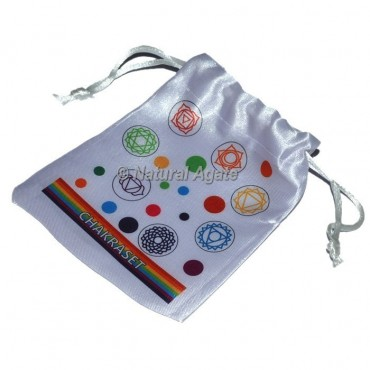 Beautiful Color Chakra Printed  White Pouch