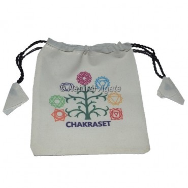 Chakra with Tree Printed white Pouch
