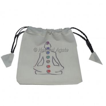 Buddha Chakra Printed White Pouch